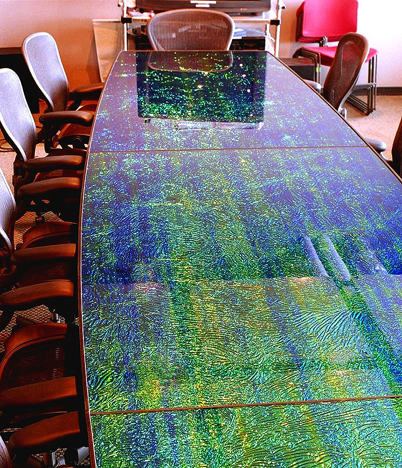 Black Sea Burl Dichrolam panels for MTV Conference Table