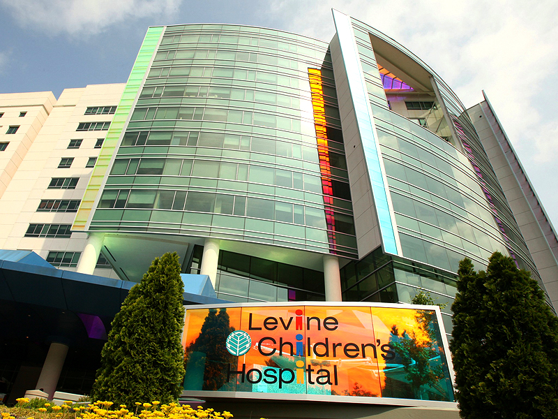 Red and Green Dichroic Glass installation at Levine Childrens Hospital
