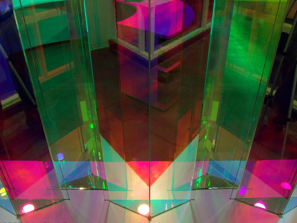 Red and Green Flat dichroic sheets, bottom lit